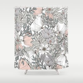 Farmhouse Chic Blush Pink and Grey Floral Pattern Shower Curtain