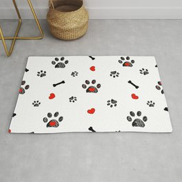 Doodle black paw prints, bone with red heart Rug