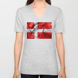 Denmark Flag Unisex V-Neck