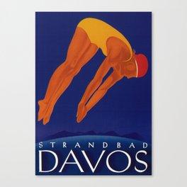 Vintage Davos Switzerland Travel Canvas Print