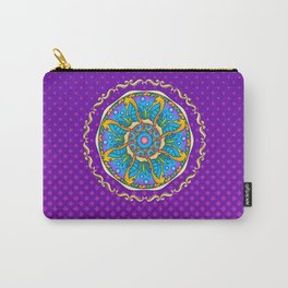 Seahorse Mandala on Purple Gradient Halftone Carry-All Pouch
