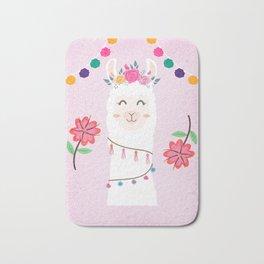Cute Pink Llama - Boho Floral Alpaca with Pompoms Bath Mat