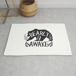 Bearly Awake Bear Funny Sleep Gift for Student Rug
