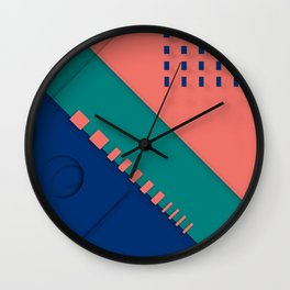 Color material design, paper layers with dynamic halftones Wall Clock