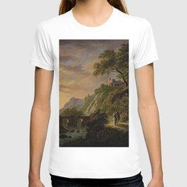 Daniël Dupre - Arcadisch landschap met ondergaande zon T-shirt