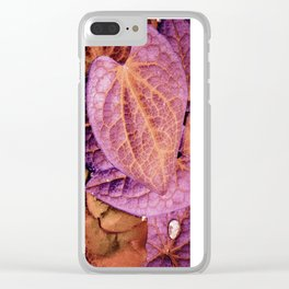 Fallen Leaves With Dew Clear iPhone Case