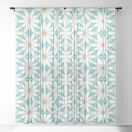 Daisy Hex - Turquoise Sheer Curtain