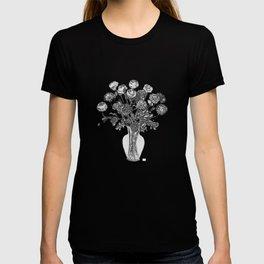 Spring Flowers in Vase on Madaket Lane Blue Background T-shirt