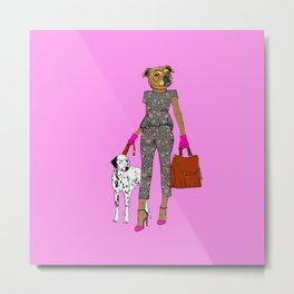 Lady Staffy Metal Print