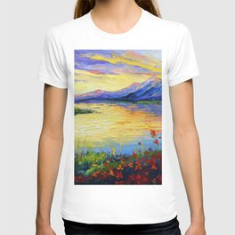 Flowers on the shore of the lake T-shirt