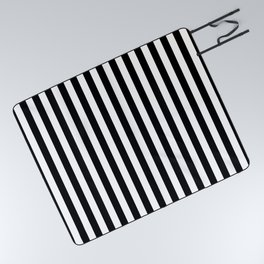 Stripe Black And White Vertical Line Bold Minimalism Picnic Blanket