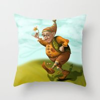 gnome Throw Pillows featuring Gnome by Olga Shefranov