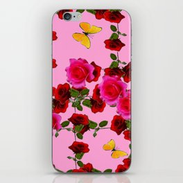 CLIMBING PINK & RED ROSES YELLOW BUTTERFLIES iPhone Skin