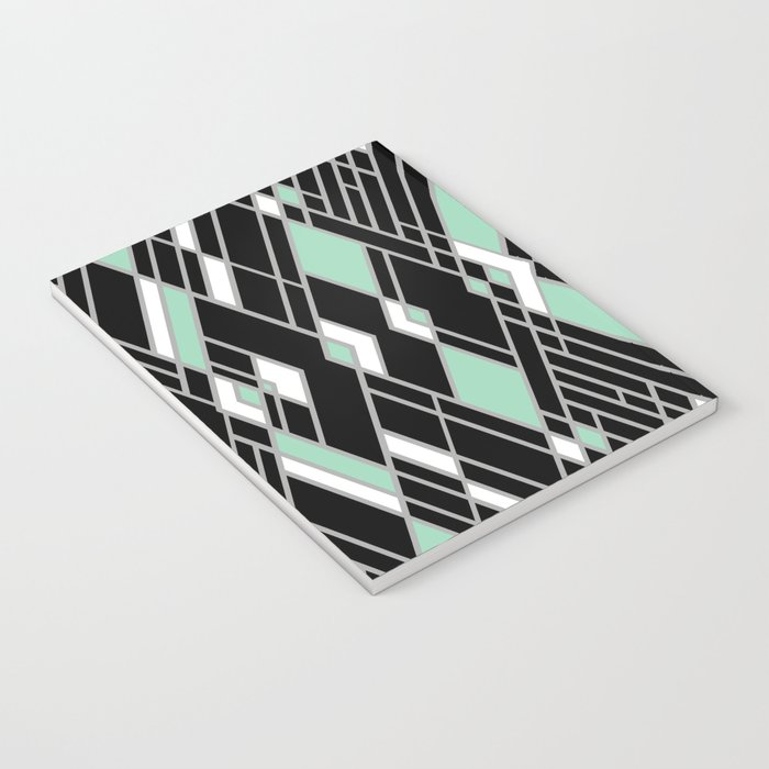Art Deco Zoom Mint Notebook