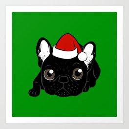 Brindle Frenchie loves Christmas season Art Print