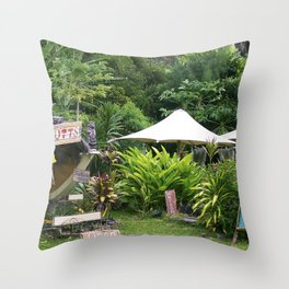 Fruit Stand in Tropical French Polynesia Throw Pillow