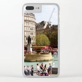 Water Fountain In Trafalgar Square, London Clear iPhone Case