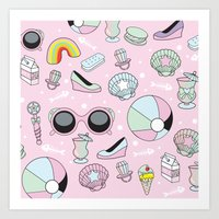Kawaii Beach Day Art Print