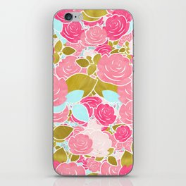Pink Roses with Aqua & Gold Chic Watercolor Floral iPhone Skin