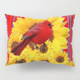 YELLOW SUNFLOWERS RED CARDINAL GREY  ART Pillow Sham