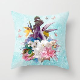 FLORAL HORNBILL / RIO Throw Pillow