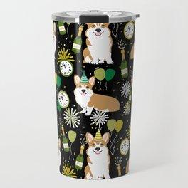 Corgi New Years Eve - corgi nye, celebration, dog, dogs, corgi pattern, cute corgi Travel Mug