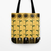 suits Tote Bags featuring Sunflowers In Suits Print by Roxy Makes Things