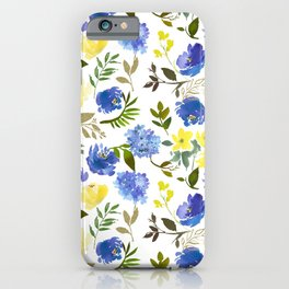 Hand painted yellow blue watercolor leaves floral pattern iPhone Case