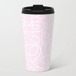 Doodle Line Art | White Lines on Palest Pink Travel Mug