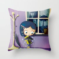 coraline Throw Pillows featuring It's Coraline not Caroline. by Irene Dose