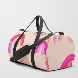 Abstract Rainbow Arcs – Pink Palette Duffle Bag