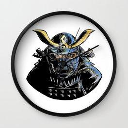 Samurai Wearing Armor Mask Mempo Woodcut Wall Clock