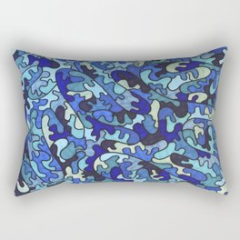 Shades of Blue Puzzle Pieces Rectangular Pillow