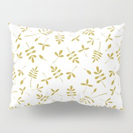 Gold Leaves Design on White Pillow Sham