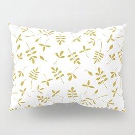 Gold Leaves Design on White Pillow Sham