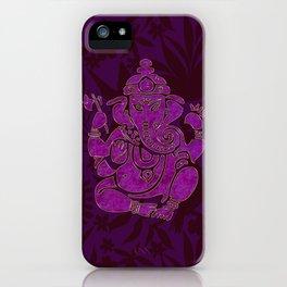 Ganesha Elephant God Purple And Pink iPhone Case