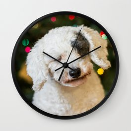 Dog with eyes closed with Christmas lights Wall Clock