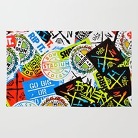 sticker Area & Throw Rugs featuring Sticker Collage by Chris Klemens