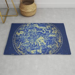 Yellow on Blue Infinity Vintage Astrology Star Map Rug