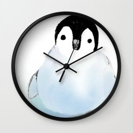 Baby Penguin On The Ice Wall Clock