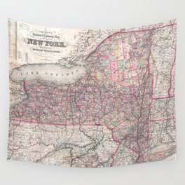 Vintage New York State Railroad Map (1876) Wall Tapestry