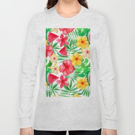 Happy Summer Life - Aloha Flowers and Melon - Pattern Long Sleeve T-shirt