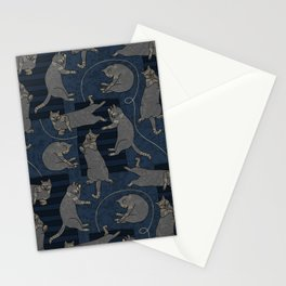 Lounging Cats On Terrazzo - Blue Stationery Cards