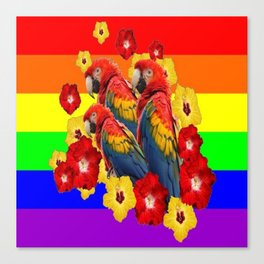 TROPICAL RAINBOW ART MACAWS & RED YELLOW HIBISCUS Canvas Print