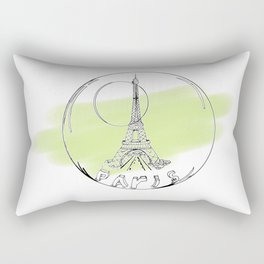 paris in a glass ball . green pastel colors Rectangular Pillow