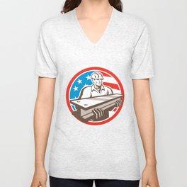 Construction Steel Worker I-Beam USA Flag Circle Unisex V-Neck
