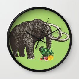 A Mammoth in Love - Lime Wall Clock