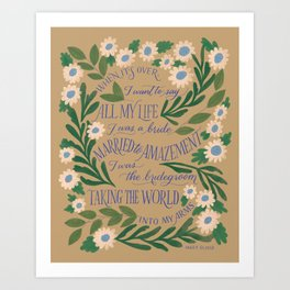 Mary Oliver - When Death Comes Art Print