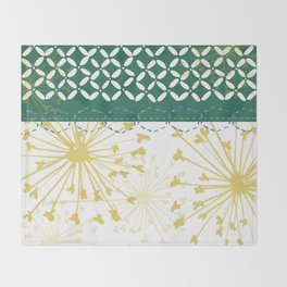 Boho dandelion green and yellow Throw Blanket