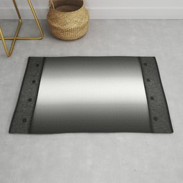 Faux steel plate with rivets Rug